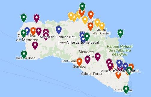 Mapa de Menorca - Rutas e itinerarios